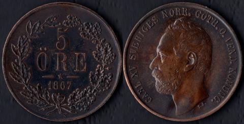 Швеция 5 оре 1867