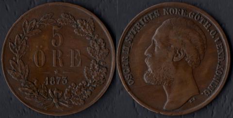 Швеция 5 оре 1873