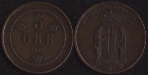 Швеция 5 оре 1874