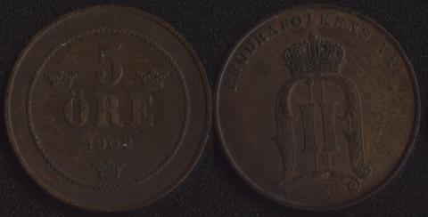 Швеция 5 оре 1902