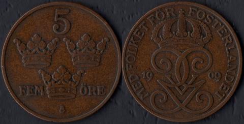 Швеция 5 оре 1909 (малый крест)