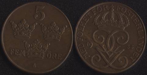 Швеция 5 оре 1935