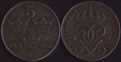 Швеция 5 оре 1943