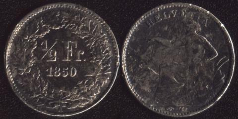 Швейцария 1/2 франка 1850