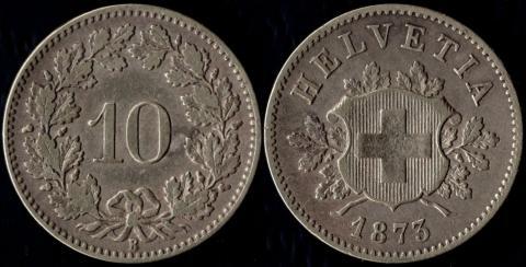 Швейцария 10 раппен 1873