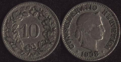Швейцария 10 раппен 1908