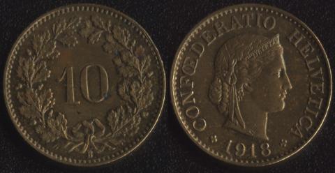 Швейцария 10 раппен 1918