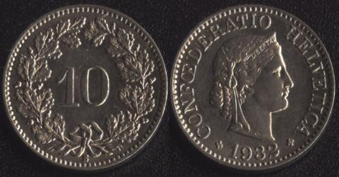 Швейцария 10 раппен 1932