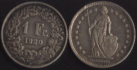 Швейцария 1 франк 1920