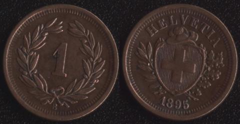 Швейцария 1 раппен 1895