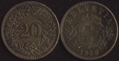 Швейцария 20 раппен 1859