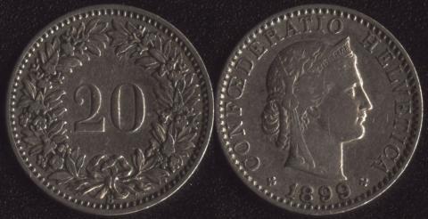 Швейцария 20 раппен 1899