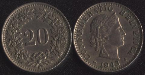 Швейцария 20 раппен 1943