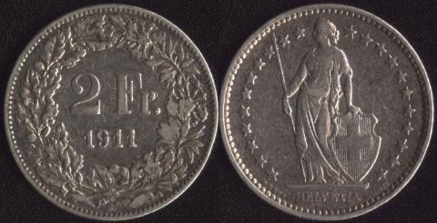 Швейцария 2 франка 1911