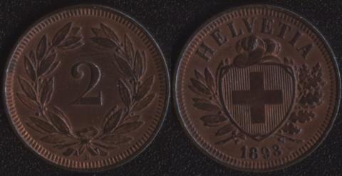 Швейцария 2 раппена 1893