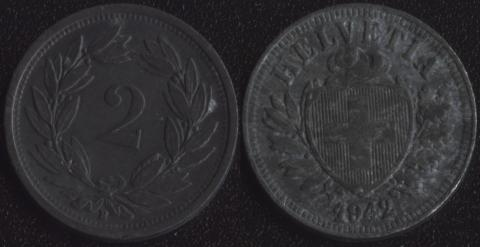 Швейцария 2 раппена 1942