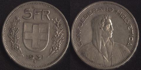 Швейцария 5 франков 1931