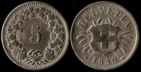 Швейцария 5 раппен 1850