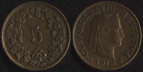 Швейцария 5 раппен 1918