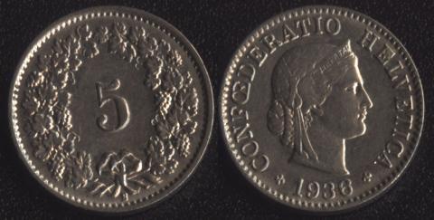 Швейцария 5 раппен 1936
