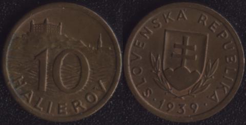 Словакия 10 хеллеров 1939