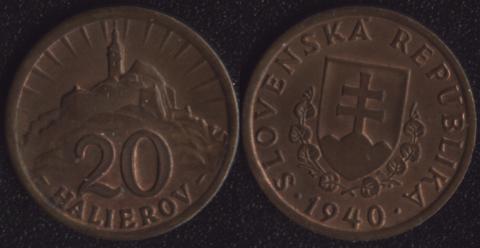 Словакия 20 хеллеров 1940