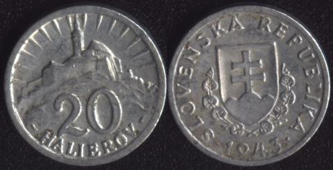 Словакия 20 хеллеров 1943