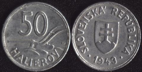 Словакия 50 хеллеров 1943