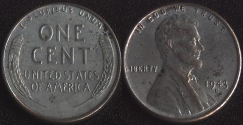 США 1 цент 1943D