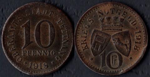 Теттнанг 10 пфеннигов 1918