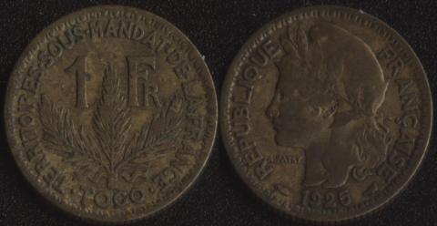 Французское Того 1 франк 1925