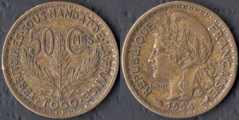 Французское Того 50 сантим 1924