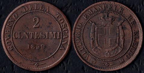 Тоскана 2 чентезими 1859