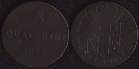 Герцогство Тосканское 3 кваттрино 1839