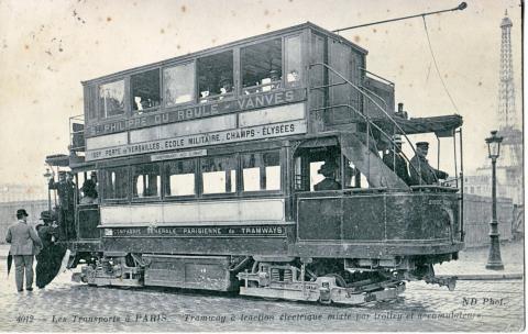 Парижский трамвай, открытка начала XX века