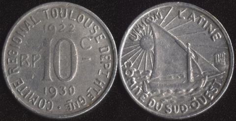 Тулуза 10 сантим 1922