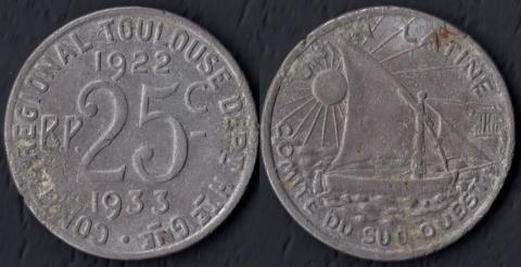 Тулуза 25 сантим 1922-1933