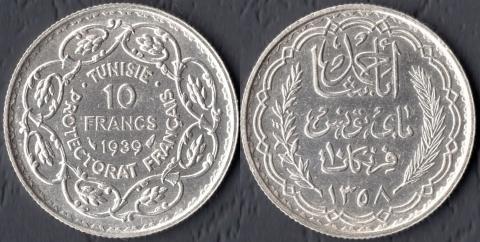Тунис 10 франков 1939
