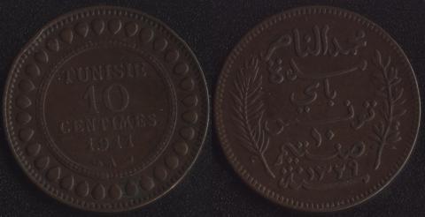 Французский Тунис 10 сантим 1911