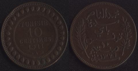 Тунис 10 сантим 1911