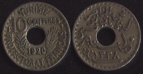 Французский Тунис 10 сантим 1920