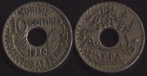 Тунис 10 сантим 1920