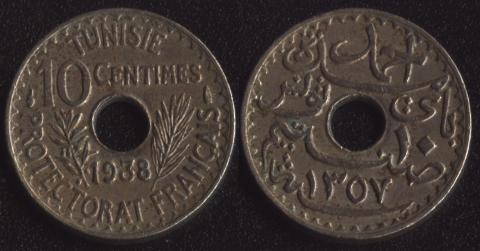 Французский Тунис 10 сантим 1938