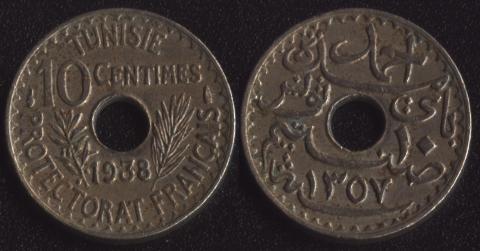 Тунис 10 сантим 1938