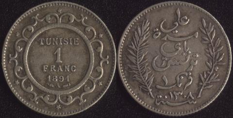 Тунис 1 франк 1891