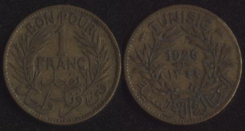 Французский Тунис 1 франк 1926