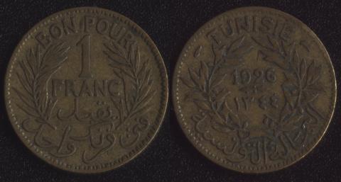 Тунис 1 франк 1926