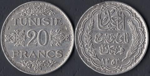 Тунис 20 франков 1934