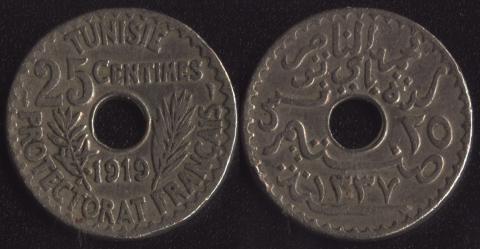 Тунис 25 сантим 1919