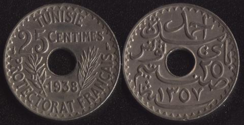 Французский Тунис 25 сантим 1938
